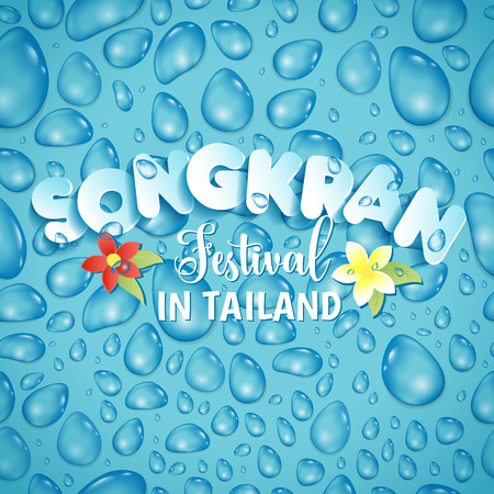 Songkran Festival in Thailand of April, hand drawn lettering, on splashing water in seamless pattern. Vectores