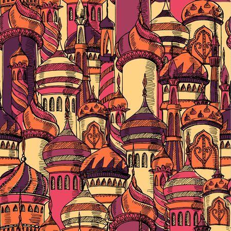 Ramadan greeting seamless pattern with mosque.