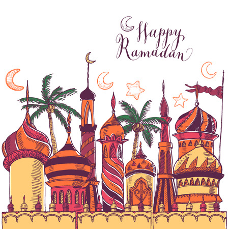 Ramadan greeting illustration with of mosque. Multicolor seamless background. Ramadan Kareem. Creative design concept for muslim holiday.