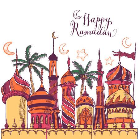Ramadan greeting illustration with of mosque. Multicolor seamless background. Ramadan Kareem. Creative design concept for muslim holiday.