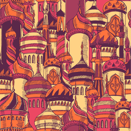 Pattern with silhouette of mosque