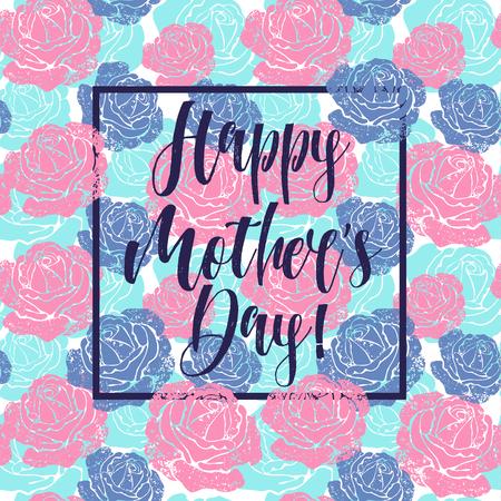 花の背景を持つ母の日のグリーティングカード  イラスト・ベクター素材