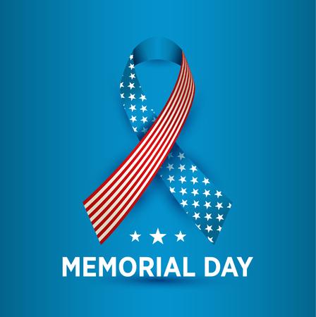 Vector tarjeta de feliz día de los caídos. Ilustración de fiesta nacional americana con cinta.