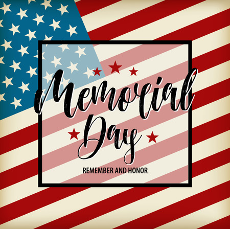 Vector Happy Memorial Day card. National american holiday illustration with USA flag. Festive poster with hand lettering.