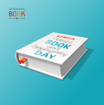Illustration of World Book Day banner with a book on a blue background. Vectores