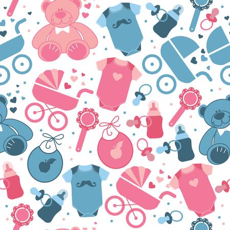 Babykleidung und Spielzeug nahtlose Muster für den Weltkindertag. Vektorgrafik