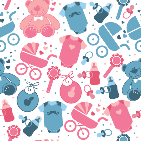 Baby clothes and toys seamless pattern for world childrens day.