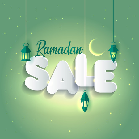 Vector Illustration Ramadan Sale. Banner, Discount label Sale Imagens - 98630232