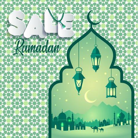 Vector Illustration Ramadan Sale. Banner, discount, label, sale, greeting card, of Ramadan Kareem and Eid Mubarak