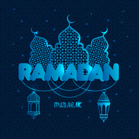 Ramadan greeting illustration with silhouette of mosque on dark blue. Creative design concept for muslim holiday. Çizim