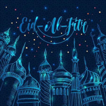 Ramadan greeting illustration with silhouette of mosque on dark blue Eid-Al-Fitr.