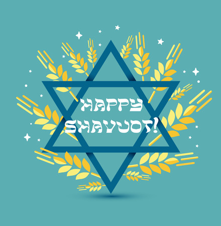 Happy Shavuot Judaic holiday. Greeting card of Israel. Vector illustration with congratulation in a frame of wheat spikelets on blue background with blue star of David.