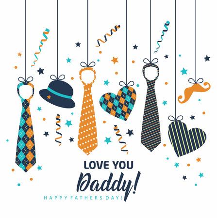 Feliz día del padre, tarjeta navideña con corbatas y accesorios Foto de archivo - 99614408