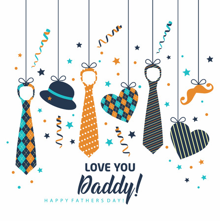 Happy Father s Day, holiday card with ties and accessories Stok Fotoğraf - 99614408