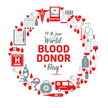 Vector illustration of Donate blood concept for World blood donor day-June 14.