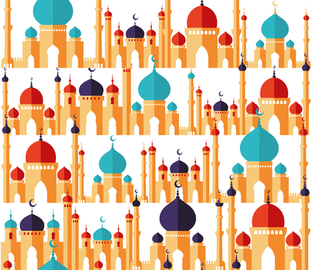 Islamic beautiful design template. Arabic ornaments. Seamless pattern of mosques in flat style.Ramadan kareem greeting card, banner, cover or poster.