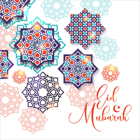 Festival graphic of islamic geometric art. Islamic decoration. Eid Mubarak celebration.