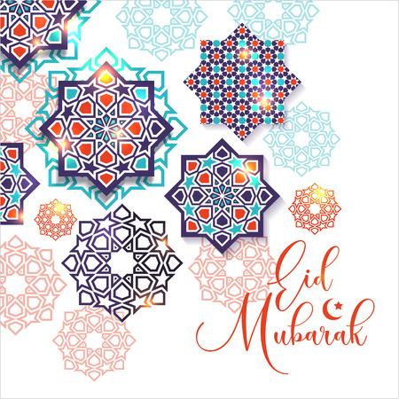 Festivalgrafik der islamischen geometrischen Kunst. Islamische Dekoration. Eid Mubarak Feier. Vektorgrafik