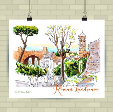 Roma, Ruins in Rome, Italy, illustration, hand drawn, sketch