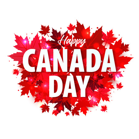 Happy Canada Day poster. Illustration greeting card with Canada Maple leaves on white background 写真素材 - 100518487