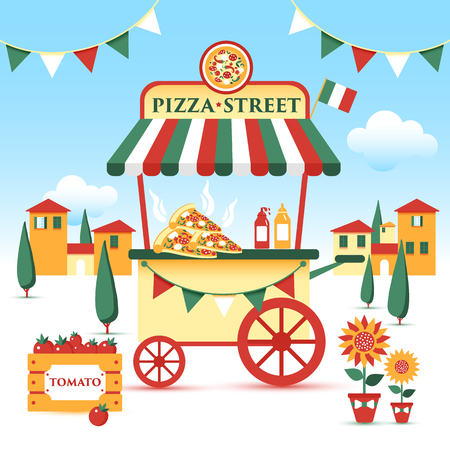 Pizza street food cart. Colorful vector illustration, cartoon style, on italian landscape.