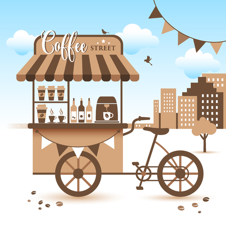 Market Cart. Take Coffee with You. Vector illustration Archivio Fotografico - 101022821