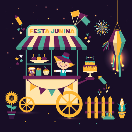 Festa Junina village festival in Latin America. Icons set in bright color. Flat style decoration. Street cart with food.