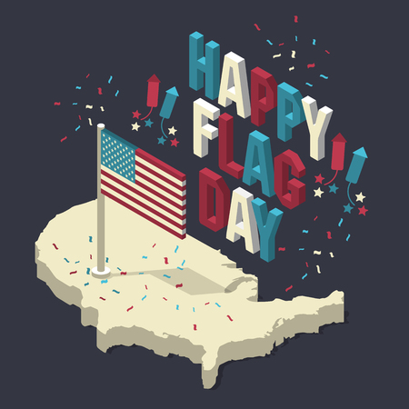 Happy memorial day. Isometric composition with flag. Vector illustration Vectores
