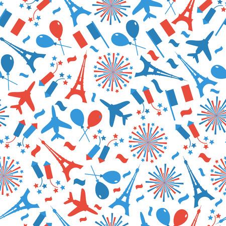 Bastille Day, Independence Day of France, symbols. Seamless pattern with symbol of celebration.