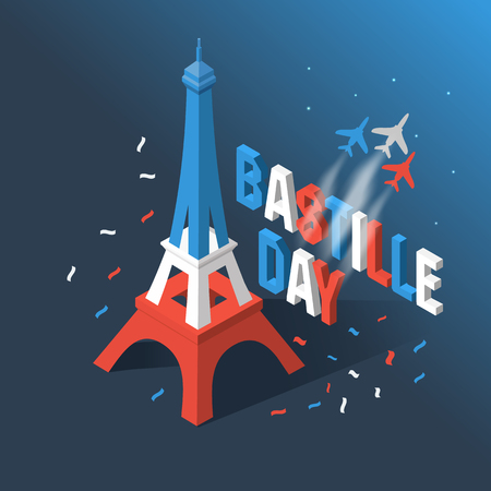 Bastille Day, Independence Day of France, symbols. French flag and map icons set in isometric style.