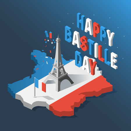 Bastille Day, Independence Day of France, symbols. French flag and map icons set in 3d style. Illustration