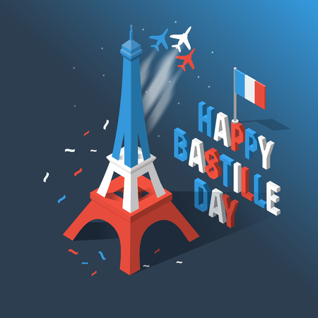 Bastille Day, Independence Day of France, symbols. French flag and map icons set in 3d style. Иллюстрация