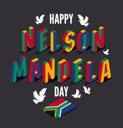 Vector illustration for happy International Nelson Mandela Day.