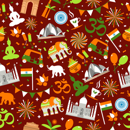 Indian seamless pattern for your design. India Independence Day background. Reklamní fotografie - 102067915