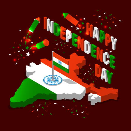 India isometric map in national flag tricolors Abstract background for India Independence Day. Ilustração