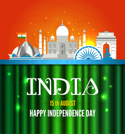 Vector illustration of Famous monument of India in Indian background for 15th August Happy Independence Day of India Reklamní fotografie - 102006902
