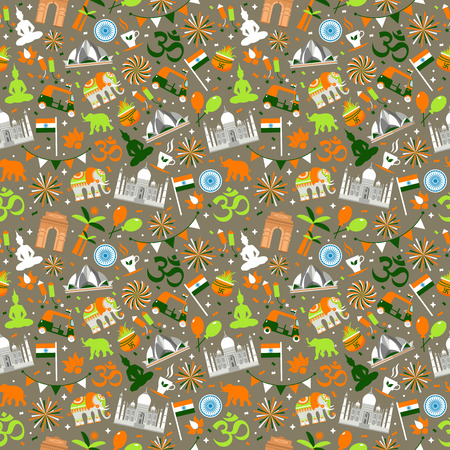 Indian seamless pattern for your design. India Independence Day background. Vector Illustration. Vettoriali