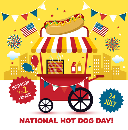 National hot dog day. Hot dog vector.