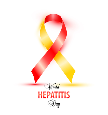 World Hepatitis Day background banner design with red and yellow ribbon.