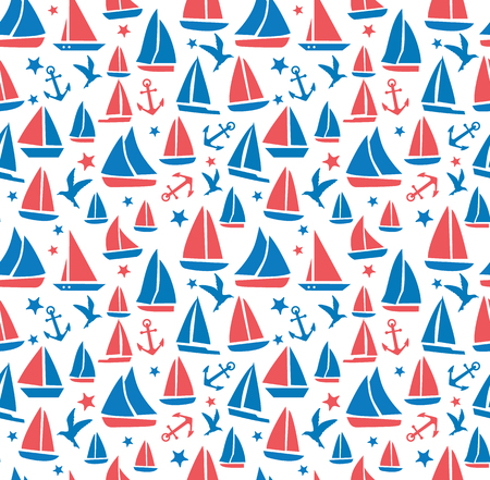 Seamless abstract sea background. Sailboats on white background. Sea seamless pattern.