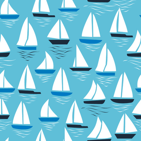 Seamless abstract sea background. Sailboats on blue background. Sea seamless pattern.