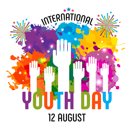 International Youth day,12 August, Hand Drawn Sketch of colors blots. Vector illustration.