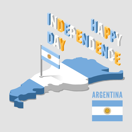 Argentina Independence day. Argentina isometric map. Vector illustration. 向量圖像