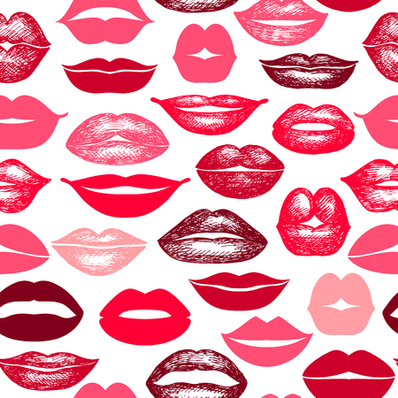 Vector seamless background. lips hand drawn prints.