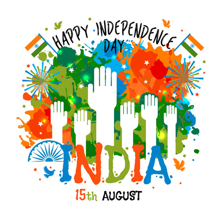 15th August, India Independence Day celebrations concept with colors blots and hands in national flag color theme.