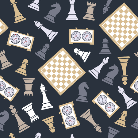 Chess pieces and clock on a blue background.