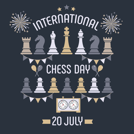 Der internationale Schachtag wird jährlich am 20. Juli gefeiert, Schachfiguren Brett und Uhr. Postkarte. Vektorgrafik