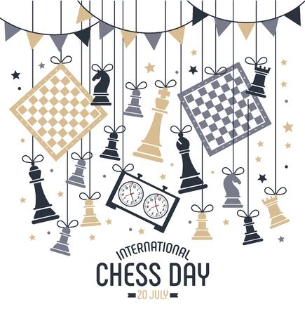 Der internationale Schachtag wird jährlich am 20. Juli gefeiert, Schachfiguren Brett und Uhr. Postkarte.