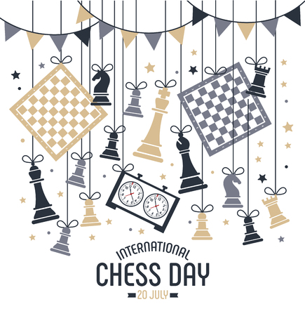 International chess day is celebrated annually on July 20, chess pieces Board and clock. Postcard. Ilustração