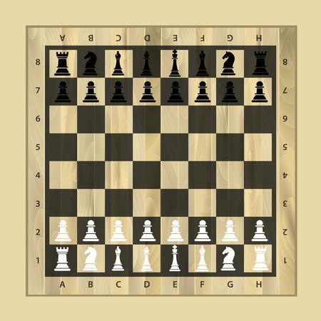 Schwarz-Weiß-Schachholzbrett mit Schachfiguren.